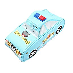 Aisa Police Car Pattern Pencil Bag Durable Double Layers Pencil Case Storage Bag for School & Office (Sky Blue)
