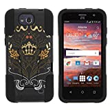 ZTE Maven Case, Dual Layer Shell STRIKE Impact Kickstand Case with Unique Graphic Images for ZTE Maven Z812, ZTE Overture 2 Z813, Z810, ZTE Fanfare Z791, Z792 (AT&T, Cricket) from MINITURTLE | Includes Clear Screen Protector and Stylus Pen - Flowery Crown