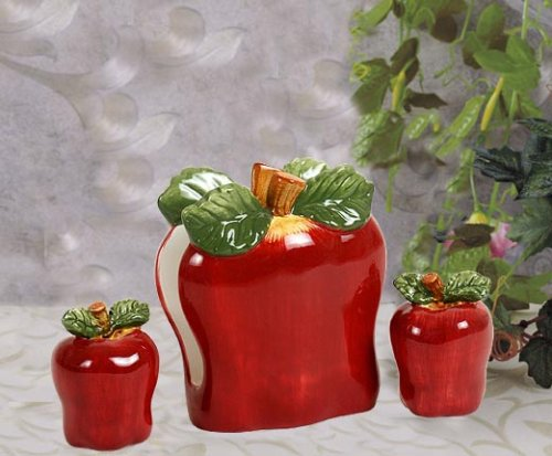 3 Piece ceramic Red Apple themed kitchen Tabletop Set Salt and Pepper shakers & Napkin Holder
