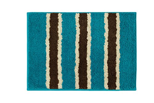 bathtopia ace microfiber stripe 16 x 24 in bath rug teal new