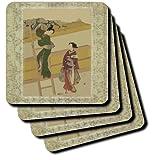 3dRose Cst_38119_3 Japanese Ladies On Vintage Oriental Background Ceramic Tile Coasters, Set Of 4