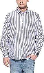 Y.U.V.I. Men's Cotton Regular Fit Casual Shirt (11113010-M, Blue & White, Medium)