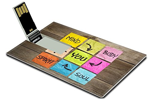 Liili 32GB USB Flash Drive 2.0 Memory Stick Credit Card Size mind body spirit soul and you balance or wellbeing concept handwriting on colorful sticky notes against grained wood 29120761