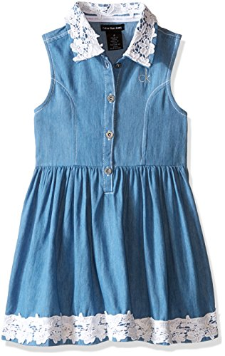 Calvin Klein Girls' Light Denim Dress with Crochet Lace Trim, Blue, 5