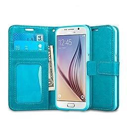 Galaxy S6 Case, J&D [Stand View] Samsung Galaxy S6 Wallet Case [Slim Fit] [Stand Feature] Premium Protective Case Wallet Leather Case for Samsung Galaxy S6 (Aqua)
