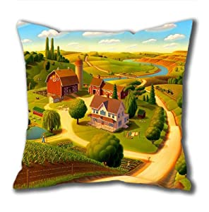 Illustration Painting Pfeiffer Homestead-tetons Standard Size Design Square Pillowcase/Cotton Pillowcase with Invisible Zipper in 40*40CM 16*16(527)-527122 from Square Pillowcase