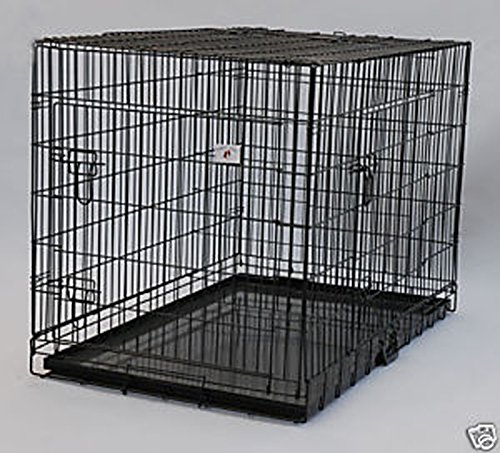 Extra Large 48″ Folding Pet Dog Cat Crate Cage Kennel With Plastic Tray *Black*