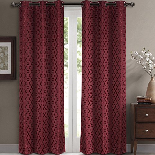 Willow Jacquard Burgundy Grommet Blackout Window Curtain Panels, Pair / Set of 2 Panels, 42x84 inches Each, by Royal Hotel (Grommet Panel Curtains compare prices)