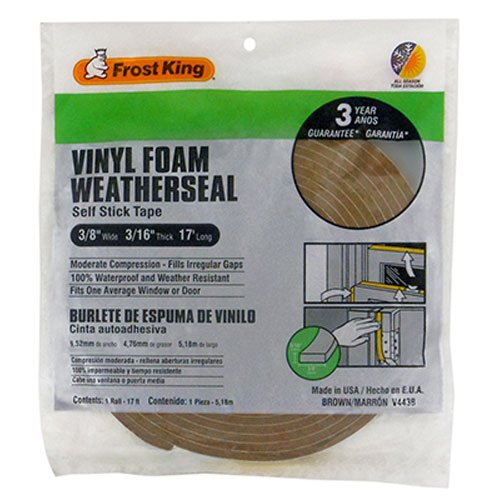 Frost King V443BH Vinyl Foam Tape 3/16-Inch, Brown (Foam Weatherstrip compare prices)