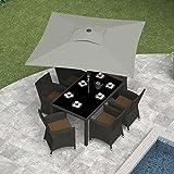 CorLiving PPU-330-U Square Patio Umbrella, Sand Gray