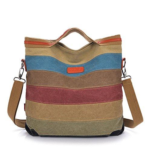 GSPStyle Women Canvas Cross Body Bag Strip Pattern