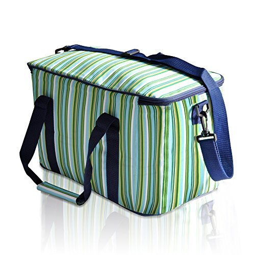 LUYADA 36 Can Large Picnic Cooler Bag Lunch Bag, Green & Sapphire Stripe (Extra Large Rainbow compare prices)