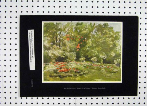 Colour Print Belgium 1927 Flowers Trees Garden