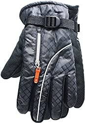True Gear Cold Weather Winter Ski Gloves with Zipper Compartment (Grey)