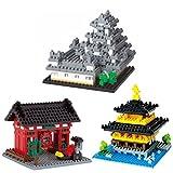 3 Nanoblock Models - Japan Theme - Kinkaku Temple, Kaminarimon & Himeji Castle