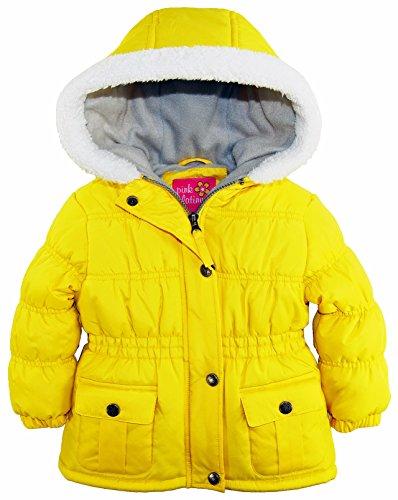 pink-platinum-baby-girls-sherpa-trim-hood-fleece-lined-winter-puffer-jacket-coat-yellow-18-months