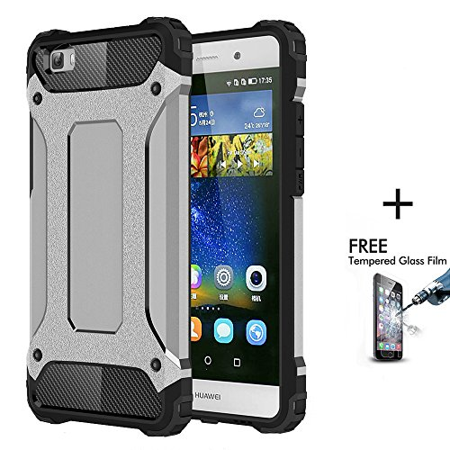 OnPrim Armor Hybrid Hard PC And Flexible Rubber Shockproof Bumper Drop Resistance Defend Case For Huawei Ascend P8 5.2 Inth Silver