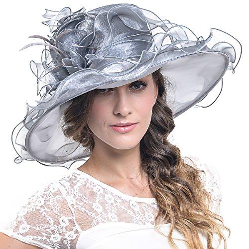 Women Kentucky Derby Church Dress Organza Hat Wide Brim Flat Hat (8