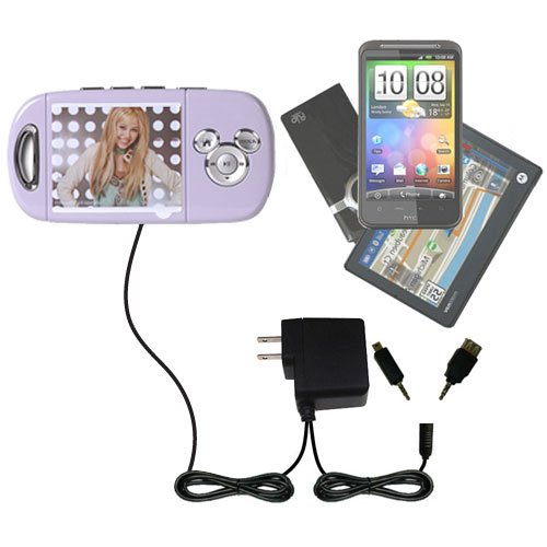 Disney Hannah Montana Mix Stick MP3 Player DS17032 compatible Dual Wall / Travel AC Charger - One Charger for up to two devices with upgradeable Gomadic Brand TipExchange