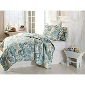Brushed Ashore Aqua Beach House Coastal 2 Piece Twin Size Quilt Bedroom Set Coral Seashell Starfish Tropical Cotton! Perfect Bedding Collection for Your Beach House, Seaside Condo, or Nautical Themed Home. Bring the Seashore to Your Home!