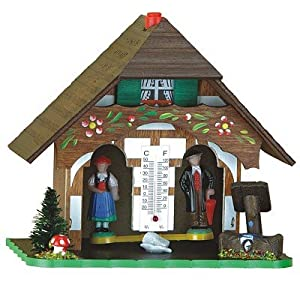 German Black Forest Weather House with Thermometer