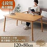 4段階で高さが変えられる 天然木オーク材 高さ調整こたつテーブル【Ramillies】ラミリ 長方形(120×80) オークナチュラル