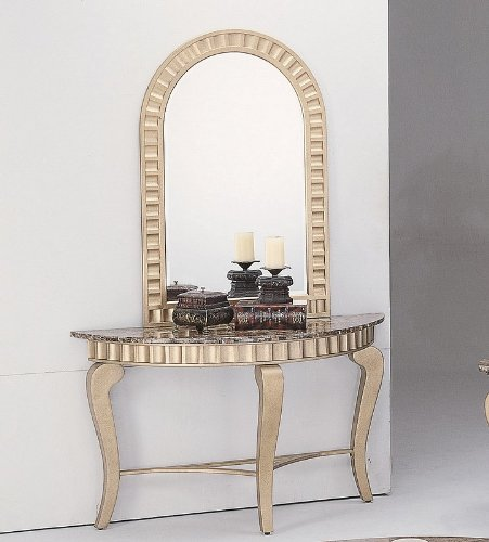 Cheap 2pcs Granite Top Gold Finish Entryway Console Table with Mirror (VF_7476-7479)