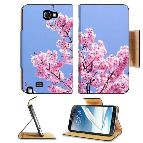Cherry Blossom With Blue Sky Samsung Galaxy Note 2 N7100 Flip Case Stand Magnetic Cover Open Ports Customized Made To Order Support Ready Premium Deluxe Pu Leather 6 1/16 Inch (154Mm) X 3 5/16 Inch (84Mm) X 9/16 Inch (14Mm) Msd Note Cover Professional Not