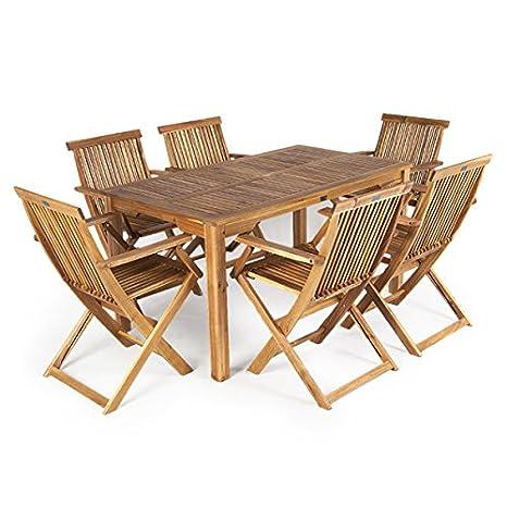 Greenfingers Alnwick FSC Acacia 6 Folding Chair 140cm Rectangular Dining Set