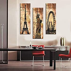 BuW Stretched Canvas Print Vintage Architecture Eiffel Tower,Statue of