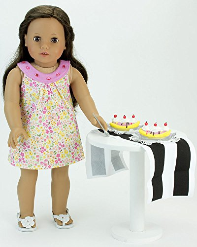 jeweled 18 inch doll dress doll pretend play food set of banana split 7 pc set with 2 spoons. Black Bedroom Furniture Sets. Home Design Ideas
