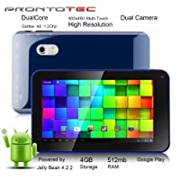 ProntoTec 7 Inch Capacitive Touch Screen Tablet Pc,Dual Core 1.2 Ghz, Android 4.2, 4gb, Ddr3 512mb Ram, Dual Camera, Wi-Fi, G-sensor (Navy) from ProntoTec