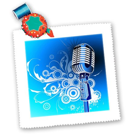 3Drose Qs_100490_5 Microphone N Scrolls In Blue Aqua N Silver-Quilt Square, 14 By 14-Inch