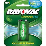 Rayovac Platinum Rechargeable Pre-Charged NiMH 9V Size BatteryRayovac Recharge PLUS High-Capacity Rechargeable 200 mAh NiMH 9V Pre-Charged Battery, 1-pack (PL713-2)