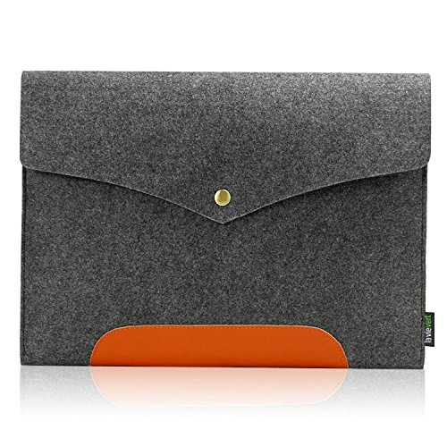 Lavievert Gray Felt Case Real Leather Bottom Bag Magnetic Button Sleeve for Apple 13