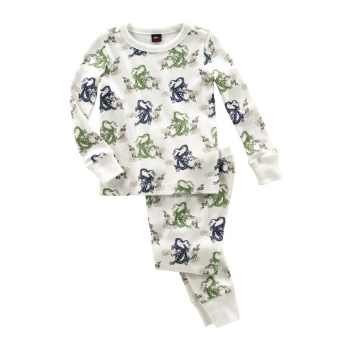 Tea Collection Dragon Print Sleepwear Set, Milk 6-12 Months