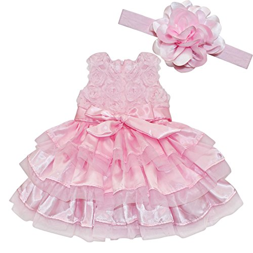 IEFiEL Baby Girls Rosette Tunic Princess Dress with Flower Headband Pink Pink 12-18 Months