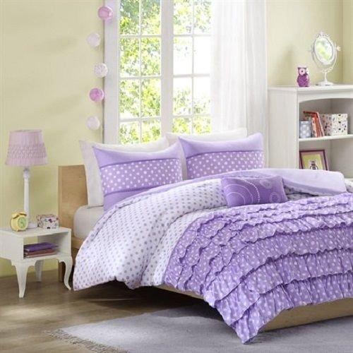 Bedding Quilt Comforter Bed Set Purple Polka Dots Bedspread Bed In A Bag New front-910498
