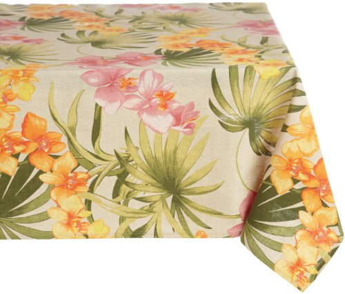 Tommy Bahama African Orchid Square Tablecloth, 52 by 52-Inch, Linen