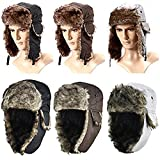 Tinxs Ladies/Mens Unisex Russian Trapper Cossack Faux Fur Winter Ski Hat Unisex Black Grey Brown