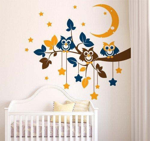 Adesivo murale wall sticker per bambini gufetti della for Adesivi per muro