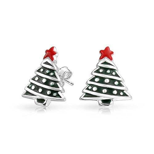 Bling Jewelry Green Red Enamel Star 925 Silver Kids Christmas Tree Stud Earrings