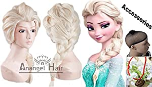 Anangel® Free Hair Cap+ Princess Frozen Snow Queen Beige Elsa Wig Snow Queen Cosplay Convention Costume Wigs from Anangel