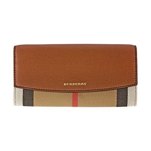 Burberry House Check and Leather Continental Wallet - Tan