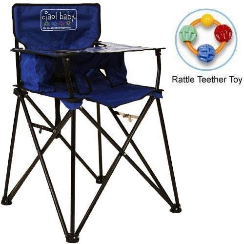 New ciao baby - Portable High Chair with Rattle Teether Toy - Blue
