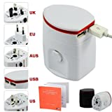 First2savvv white Luxury Universal Worldwide Travel Power Adaptor and USB Charger - African / European / American / Australian / Holiday Plug Adapter - Covers Over 150 Countries for Amazon kindle fire HDX 7