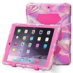 iPad Air 2 Case, ACEGUARDER New Design [Kidsproof] [Shockproof] [Scratchproof] [Drop Resistance] Super Protection Case with Stand for Apple iPad Air 2 (Pink Camo Pink)
