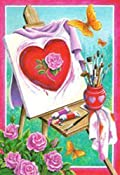 Easel Rose Valentine's Day Garden Flag Decorative Paint Yard Banner 12