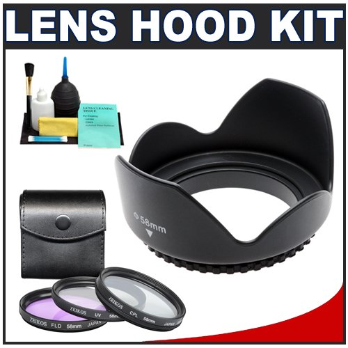Pro EW-60C 58mm Hard Lens Hood & 3 (UV/FLD/CPL) Filter Set for Canon EF-S 18-55mm f/3.5-5.6 IS Zoom Lens (with EOS 50D, 7D, Rebel XSi, XS, T1i, T2i Digital SLR Camera)