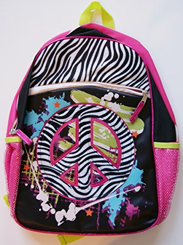 "Zebra Patterned Peace Sign 16"" Backpack - 1"